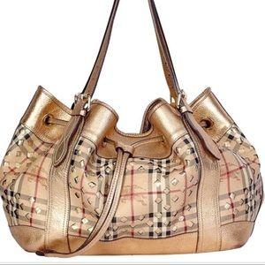 Burberry Drawstring Gold PVC Bag